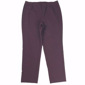 J. Jill Ponte Slim Leg Dress PANTS Pull-On Maroon